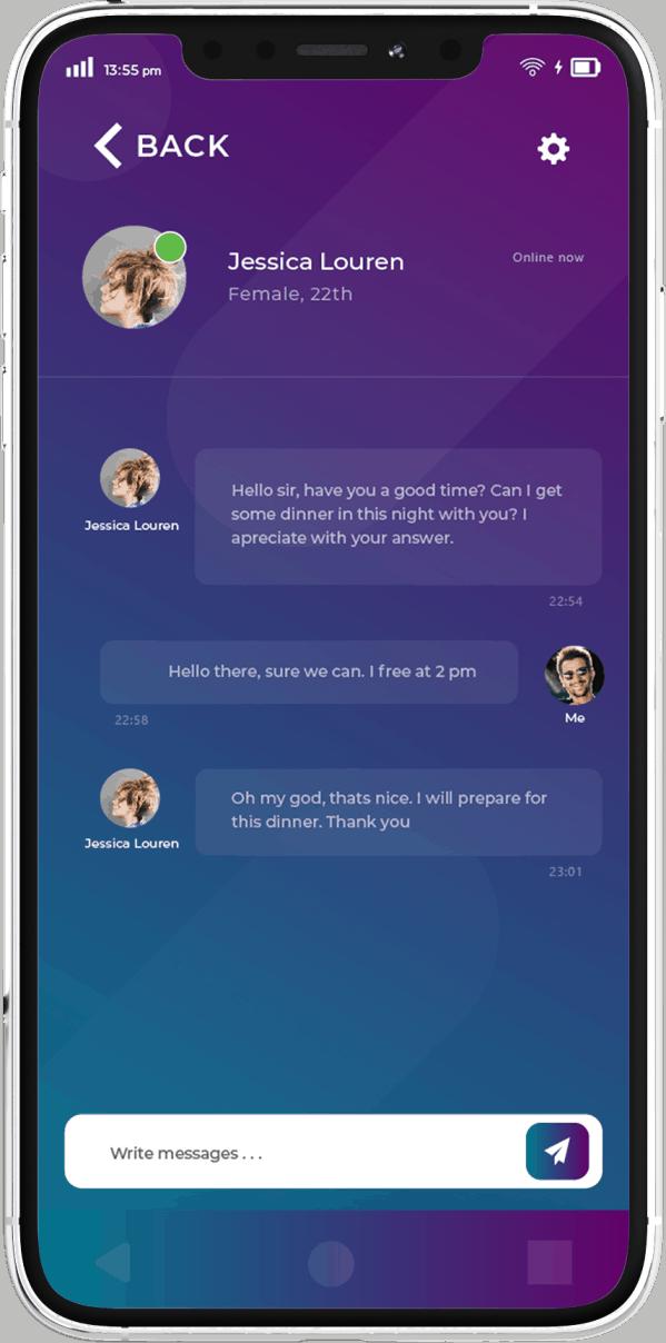 פיתוח אפליקציות בתחום הכרויות - מסך צ'ט