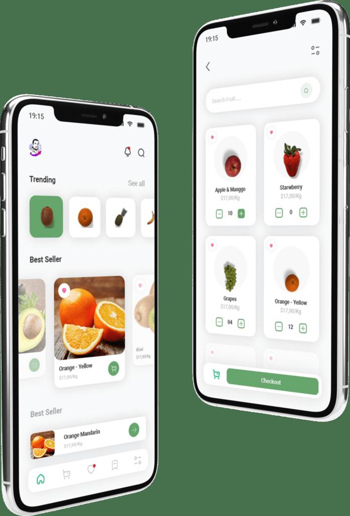 זוג תמונות מעוצבות של אפליקציה לחנות ירקות ופירות