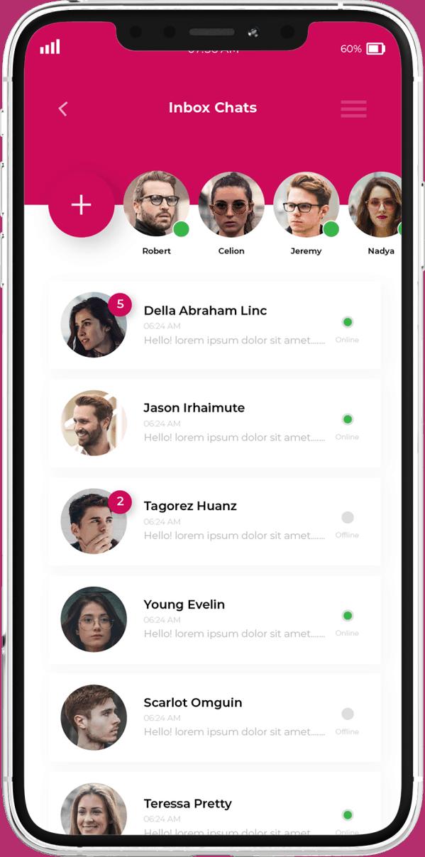 פיתוח אפליקציות בתחום צאטים - מסך כל השיחות מסנגר