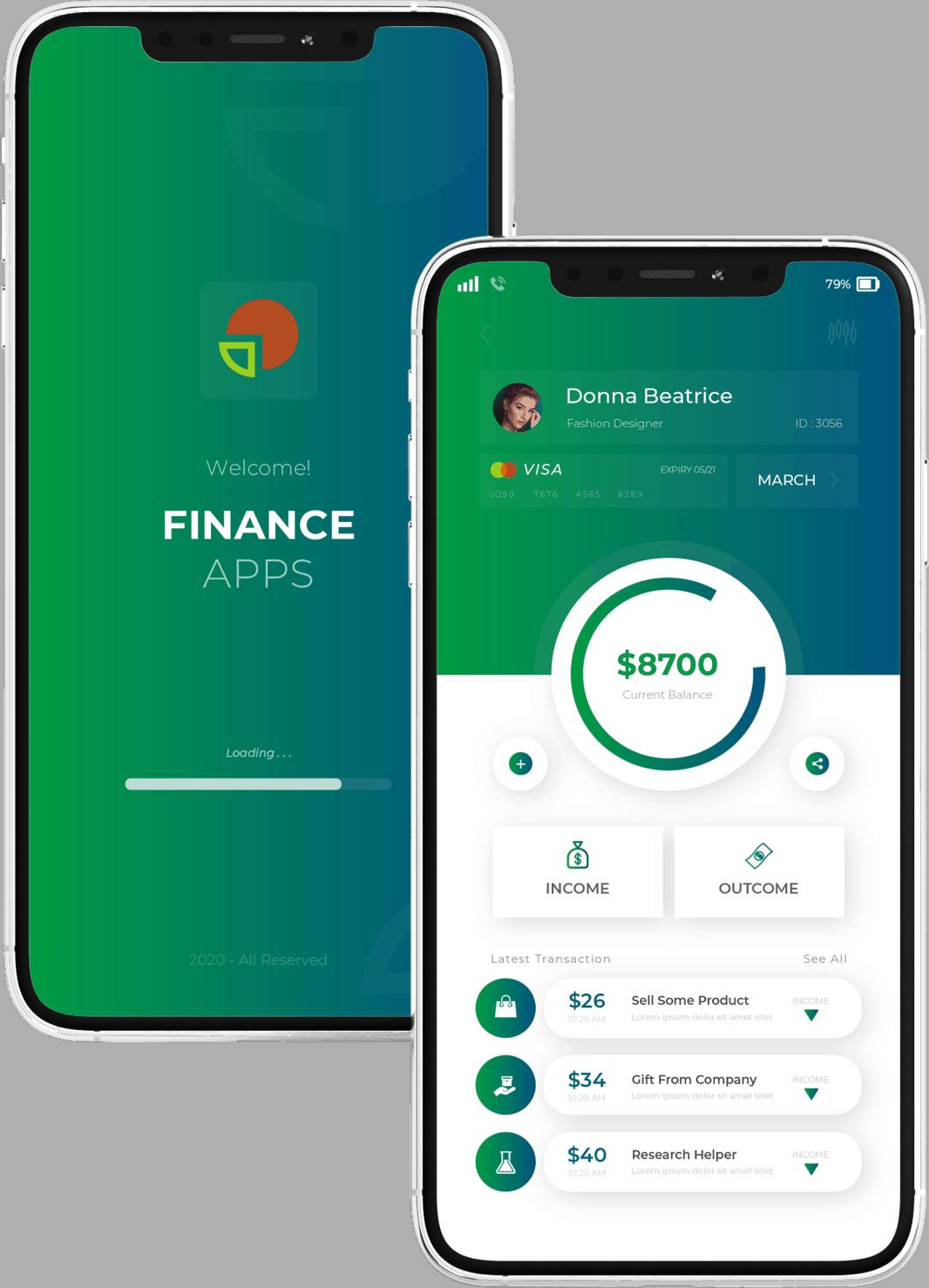 פיתוח אפליקציה בתחום הפיננסי מעוצבים עם 2 מסכים