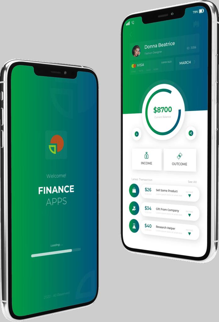 פיתוח אפליקציה בתחום הפיננסי 2 מסכים מעוצבים