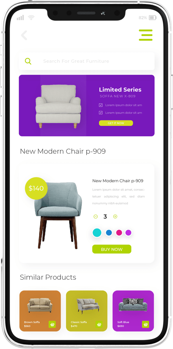 פיתוח אפליקציה לחנות רהיטים