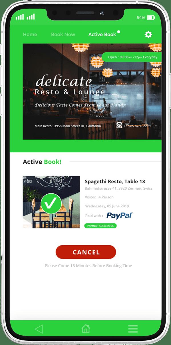 פיתוח אפליקציות בתחום המסעדה - מסך הזמנה מאושרת